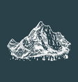 hand drawn a mountain view vector image