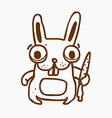 Hand Drawn Bunny with Carrot vector image vector image