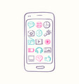hand drawn smartphone with app icon vector image