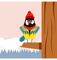 happy titmouse with hat on tree winter flat vector image vector image