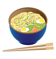 Japanese traditional food ramen soup in deep bowl vector image vector image