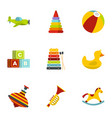 kid toys icons set flat style vector image vector image