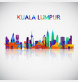 kuala lumpur skyline silhouette in colorful vector image