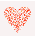 Lace silhouette heart of curls watercolor vector image