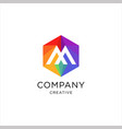 letter m logo with a hexagon shape in a creative vector image vector image