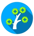 medical technology tree flat round icon with long vector image vector image