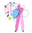medical worker wearing hazmat suit with shield vector image vector image