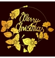 Merry Christmas lettering in floral frame vector image vector image