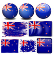 New Zealand flag in different designs vector image vector image