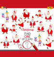 one a kind game with santa claus characters vector image vector image