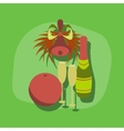 paper sticker on stylish background champagne bell vector image vector image