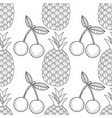 pineapples and cherry seamless pattern with hand vector image vector image