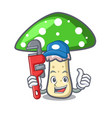 plumber green amanita mushroom mascot cartoon vector image vector image