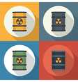 Radioactive barrel set icon vector image