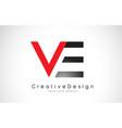 red and black ve v e letter logo design creative vector image vector image