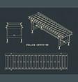 roller conveyor drawings vector image vector image