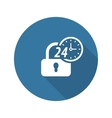 Secured 24-hour Icon Flat Design vector image vector image