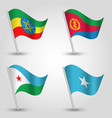 set of waving flags east africa horn vector image