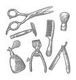 set tool for barbershop black vintage vector image vector image