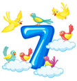 seven birds on number vector image vector image