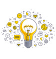 shining light bulb and set of icons business idea vector image