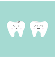 Tooth icon Healthy smiling tooth Crying bad ill vector image vector image