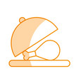 tray with delicious chicken meat icon vector image vector image
