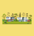 two modern family houses with trees vector image vector image