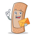 with envelope band aid character cartoon vector image vector image
