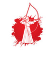 woman bowing kyudo archer sport girl vector image vector image