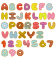 alphabet and numbers sweet donuts vector image