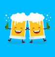 two cute dancing fun friend drunk beer glasses vector image