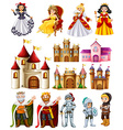 Different fairytales characters and palace vector image