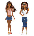 afro american girl casual style vector image vector image