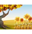 An autumn view with flowers vector image vector image
