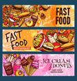 banners set for fast food restaurant vector image vector image