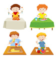 Boys eating at dining table vector image vector image