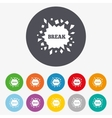 Break it Cracked hole icon Smashed wall vector image