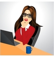 businesswoman with laptop vector image vector image