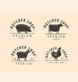 butcher shop logo or label farm natural meat vector image vector image