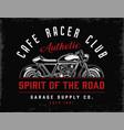 cafe racer club vintage badge vector image vector image