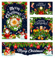 christmas card and banner of winter holiday design vector image vector image