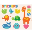 colorful animals set Stickers for kids vector image