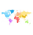 colorful political map of world divided into six vector image vector image