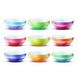 colourful empty bowls isolated porcelain kitchen vector image