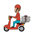 courier on scooter cartoon vector image vector image