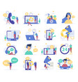 customer support flat icons vector image vector image