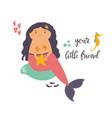 cute mermaid girl flat design nursery art print vector image vector image