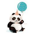 cute panda in a festive cap with a balloon panda vector image