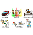 Different physical activities vector image vector image